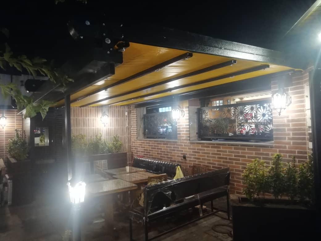 حقانی09380039391 سقف جمع شونده رستوران بام هتل پوشش کنترلی کافه رستورران عربی