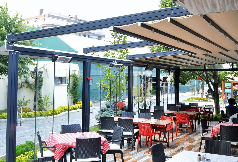 حقانی 09380039391 مناسب ترین ایده سقف کنترلی فودکورت سایبان جمع شونده حیاط رستوران