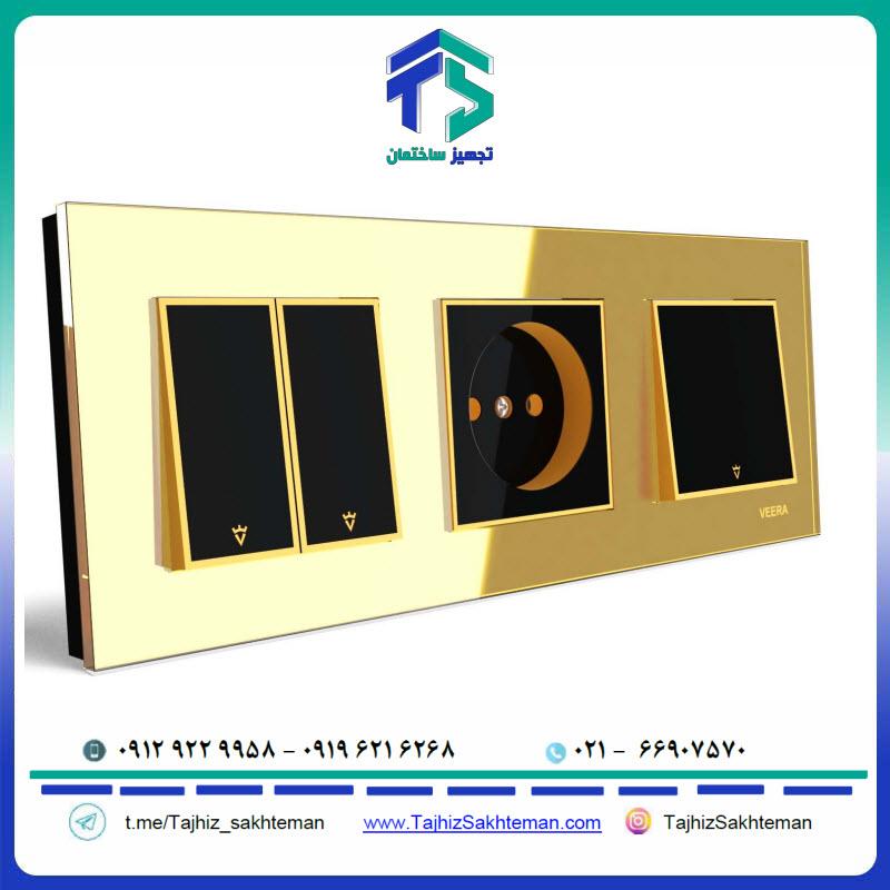 فروش ویژه کلید و پریز ویرا مدل امگا طلایی طلایی مشکی